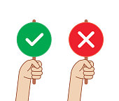 Hand Holding Right Wrong Judge Competition Talent Show Sign Banner. Green check mark and red X sign. Correct answer, Incorrect answer concept illustration.