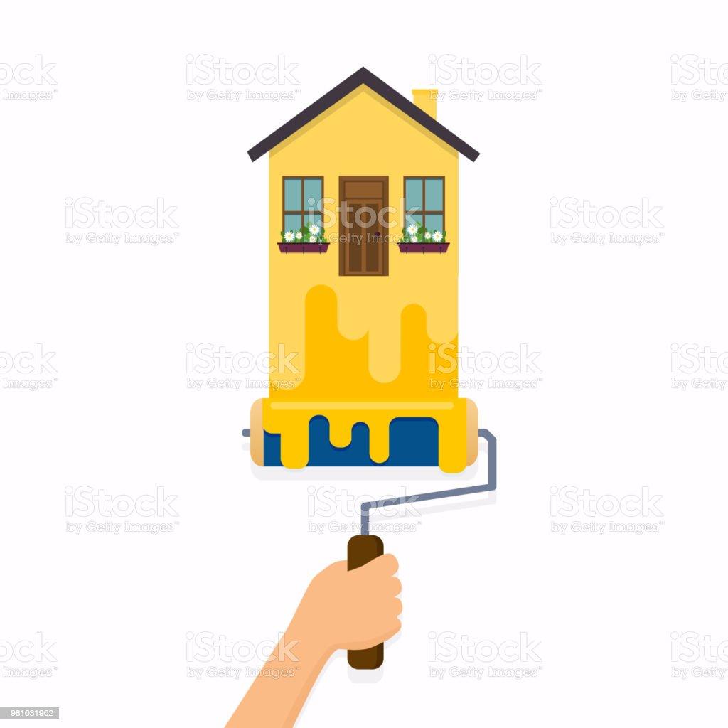 Hand Halten Bürstenrolle Und Malerei Ein Haus. Flaches Design Moderne  Vektor Illustration Konzept. Lizenzfreies