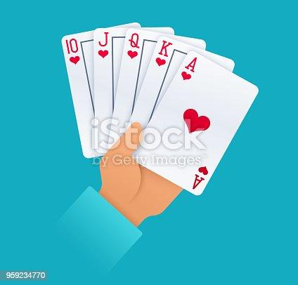 istock Hand Holding Royal Flush Gambling Playing Cards 959234770