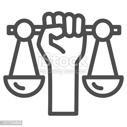 istock Hand holding scales line icon,  concept, Civil rights sign on white background, Justice scales in hand icon in outline style for mobile and web design. Vector graphics. 1277253853