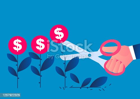 istock Hand holding scissors cuts the cultivated money seedlings, conceptual illustration of economic recession, reduction of global trade orders 1257922325