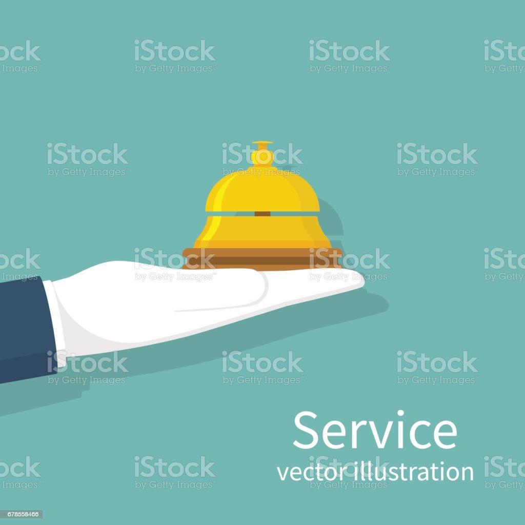 Main tenant la cloche de service - Illustration vectorielle