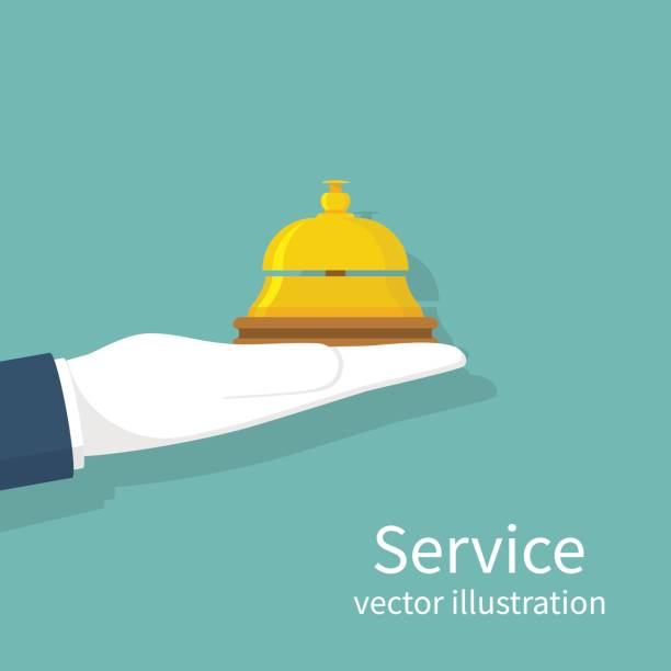 Main tenant la cloche de service - Illustration vectorielle