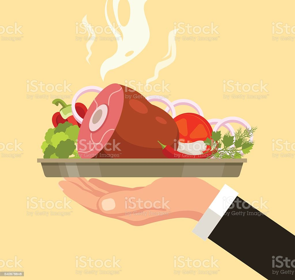 Hand holding serving plate with meat leg vector art illustration