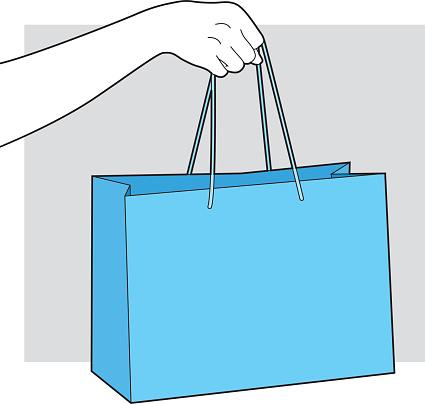 Hand Holding Shopping Bag Line Art