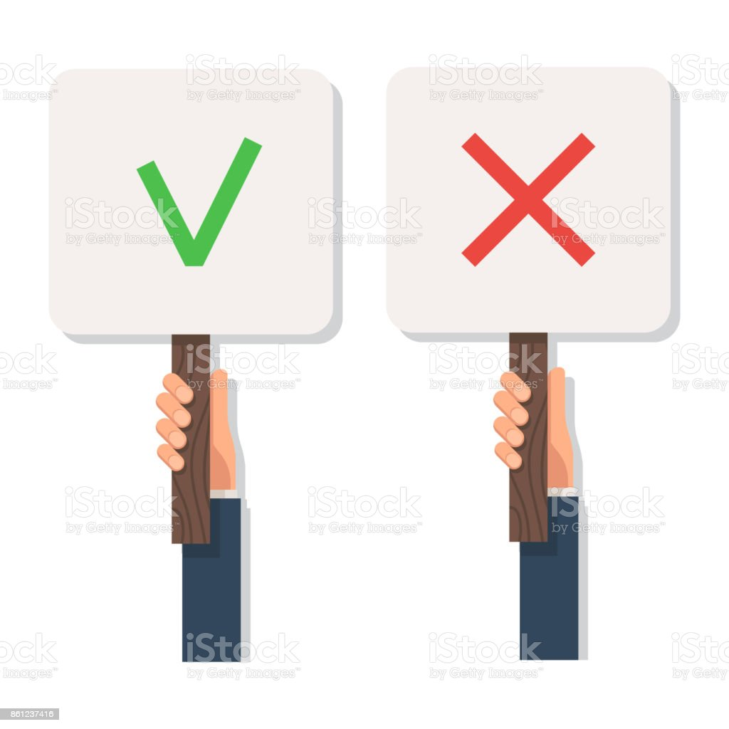 Hand holding sign check mark and cross vector art illustration