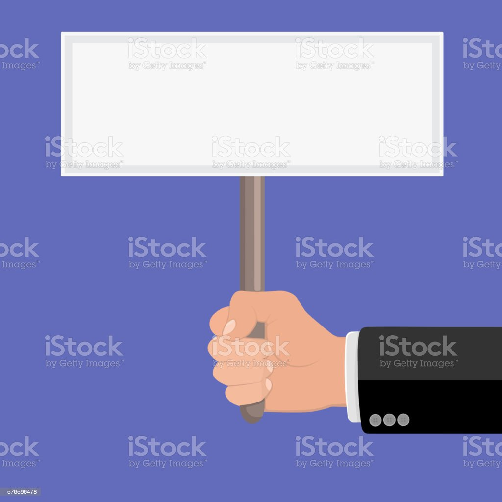 Hand Holding Sign vector art illustration