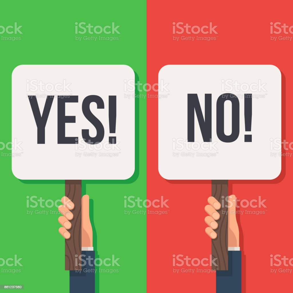 Hand holding sign Yes and No vector art illustration