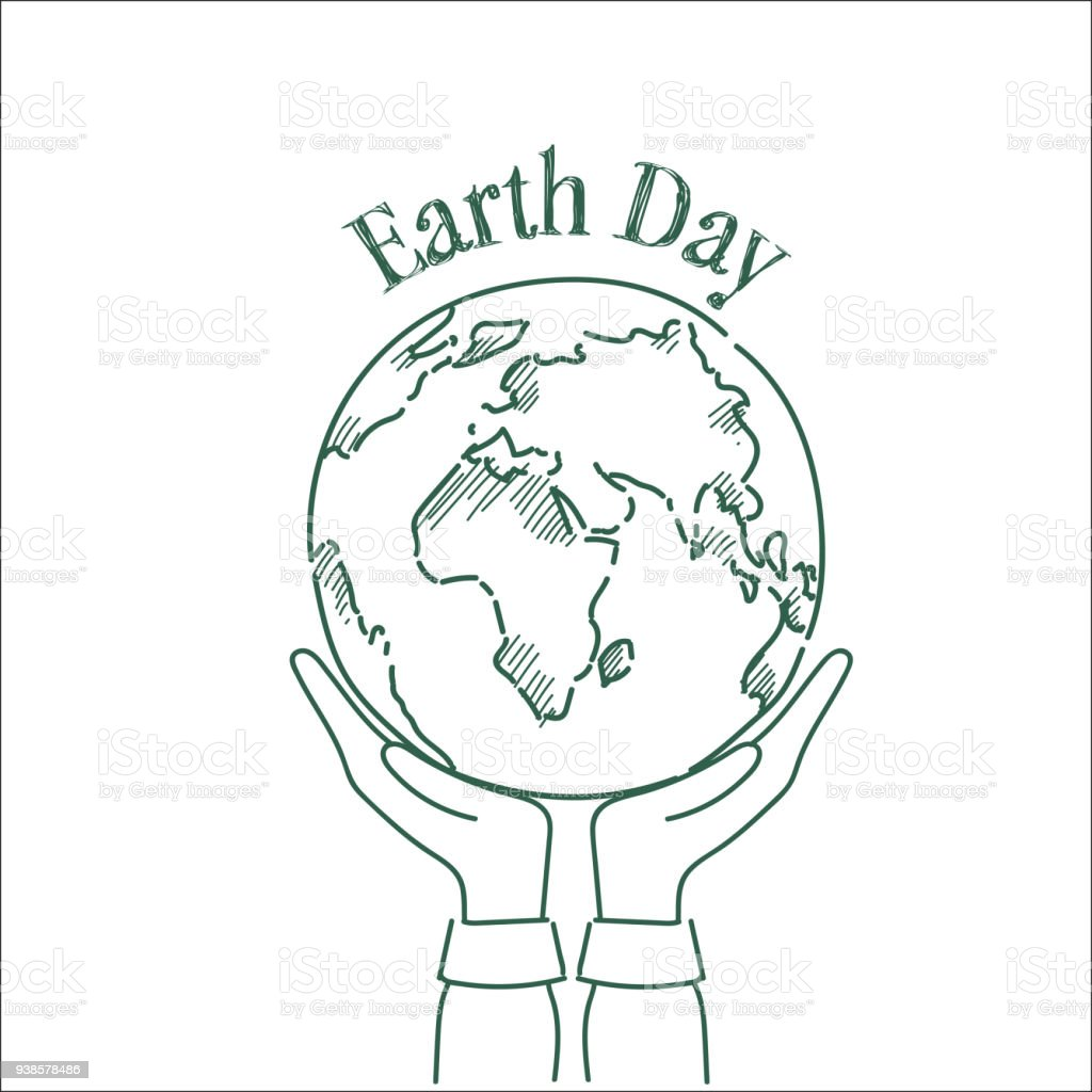 Hand Holding Sketch Planet Earth Day Greeting Card Design Happy