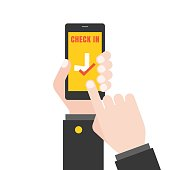 Hand holding  smart phone illustration for flight check in application for business airline concept