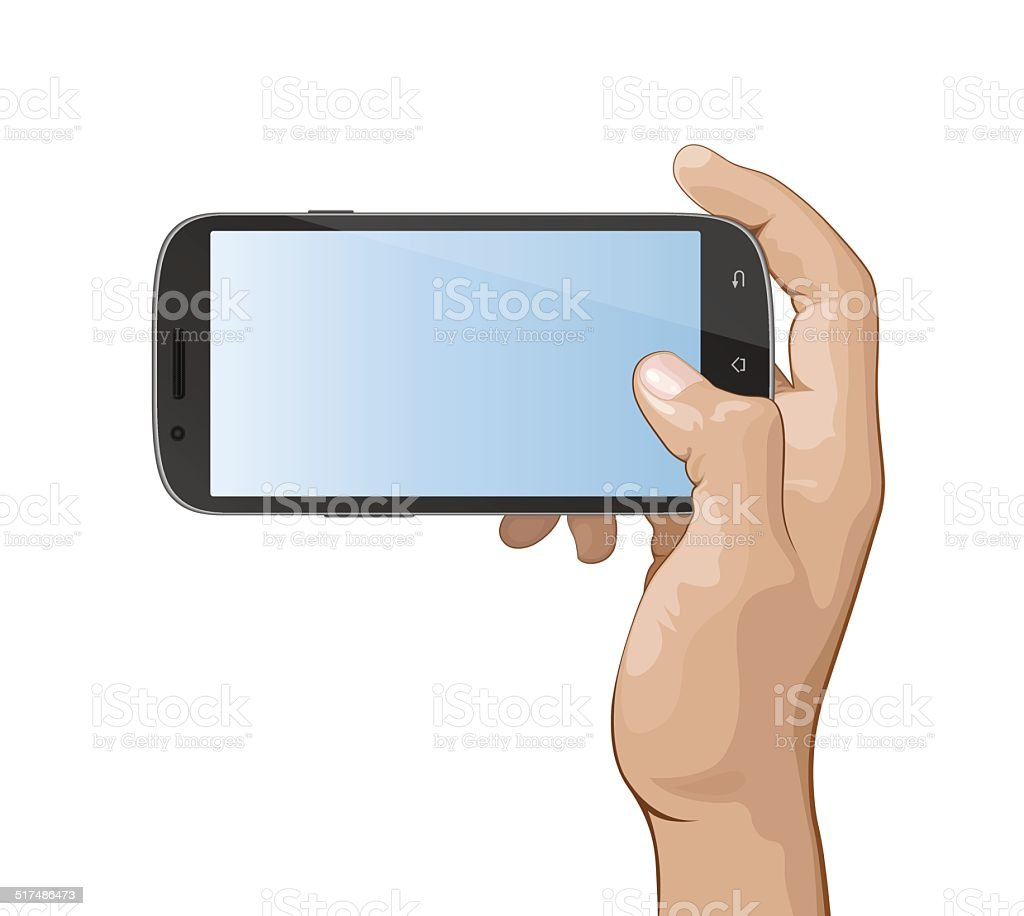 Hand holding Smart phone IV vector art illustration