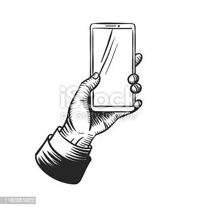 Hand holding smart phone template. Vintage sketch style vector illustration.
