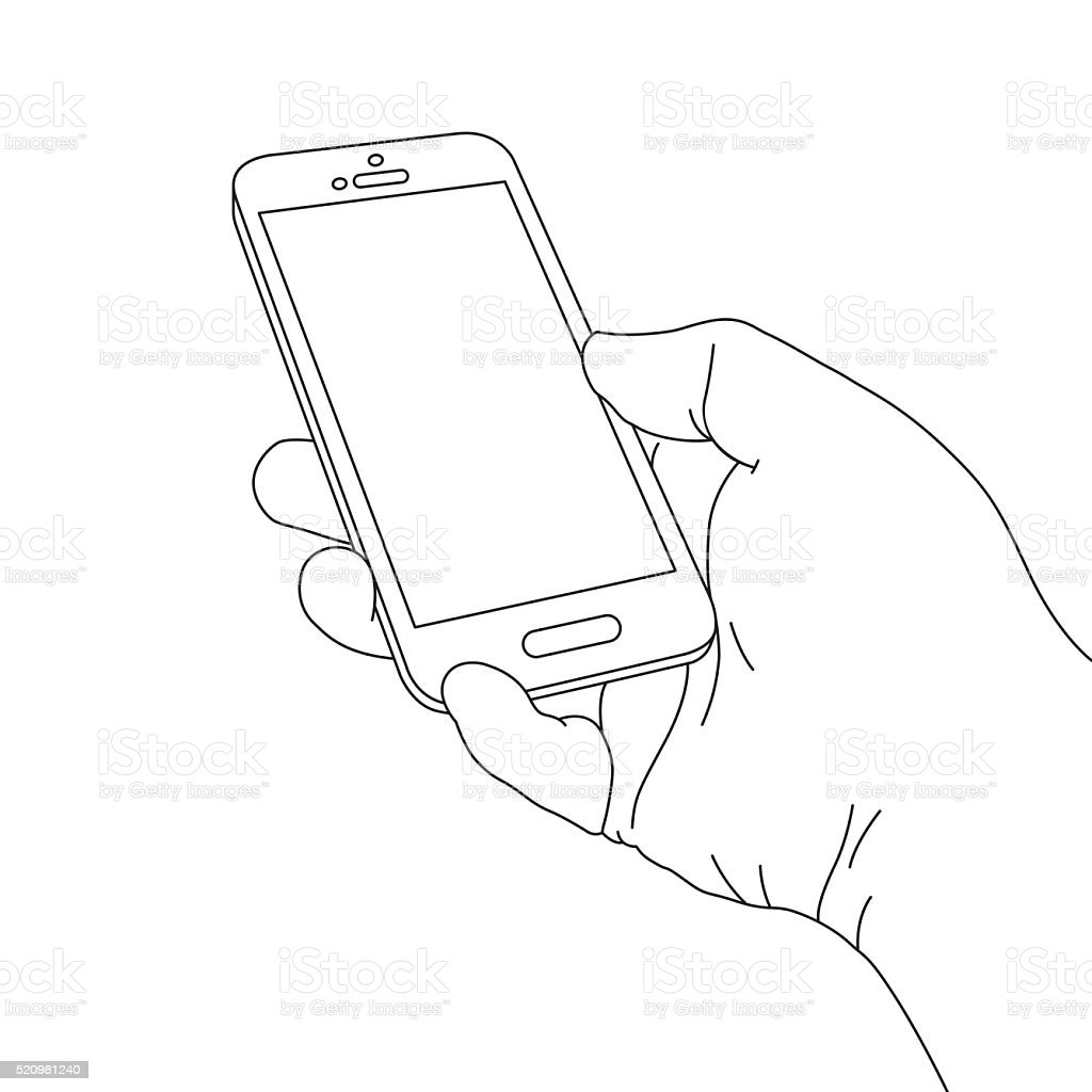 Hand Holding Smart Phone vector art illustration