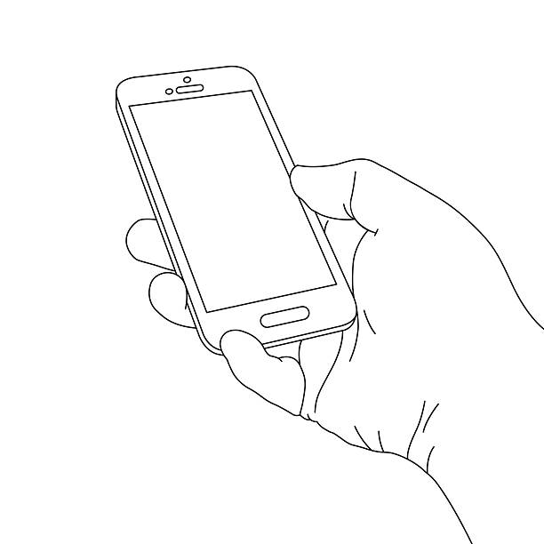 hand holding smart phone - hand holding phone stock illustrations