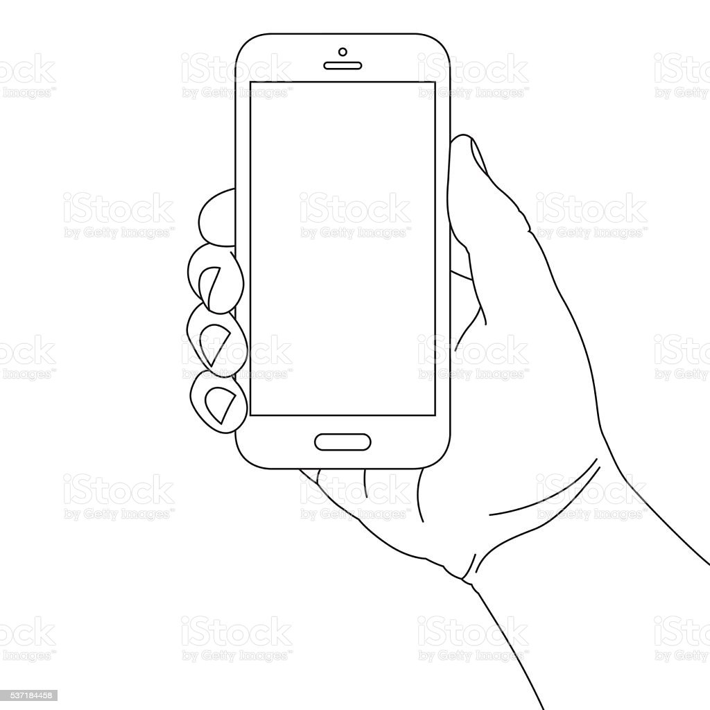 Hand Holding Smart Phone Stock Vector Art & More Images of ...