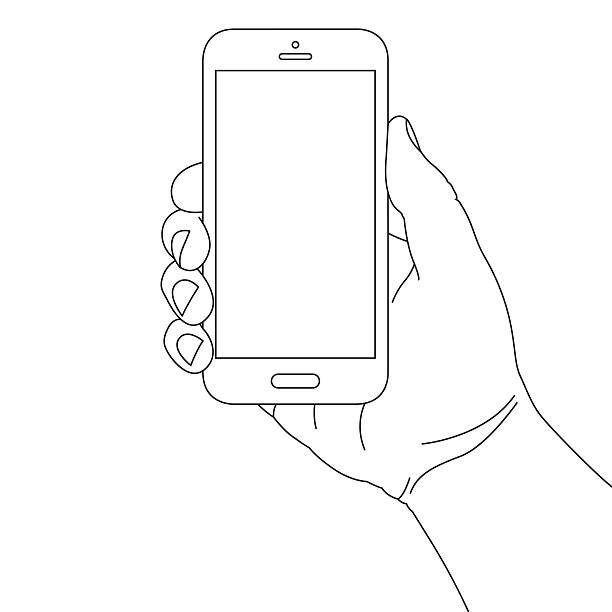 ręka trzyma inteligentny telefon - ręka człowieka stock illustrations
