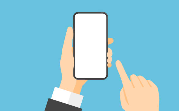 Hand holding smartphone and touching screen vector art illustration