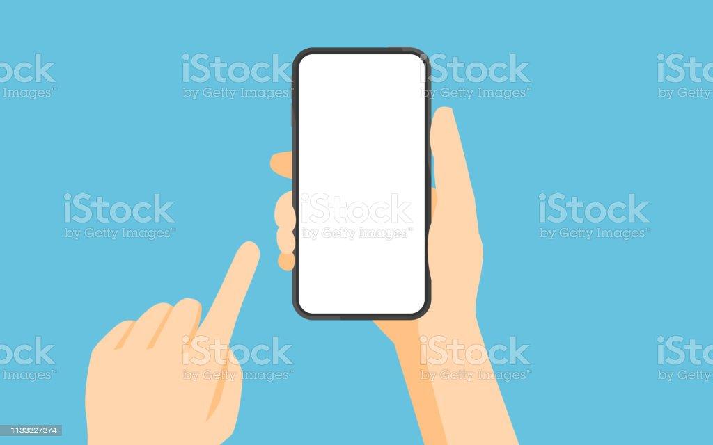 Hand holding smartphone en aanraken scherm - Royalty-free Apparatuur vectorkunst