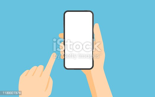 Hand holding smartphone and touching screen.