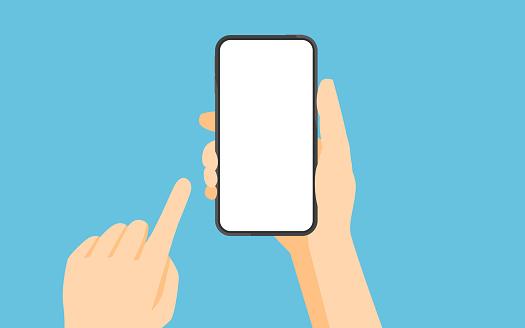Hand Holding Smartphone En Aanraken Scherm Stockvectorkunst en meer beelden van Apparatuur