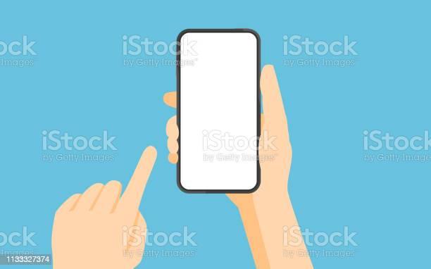 스마트폰과 터치 스크린을 들고 있는 손 LCD에 대한 스톡 벡터 아트 및 기타 이미지