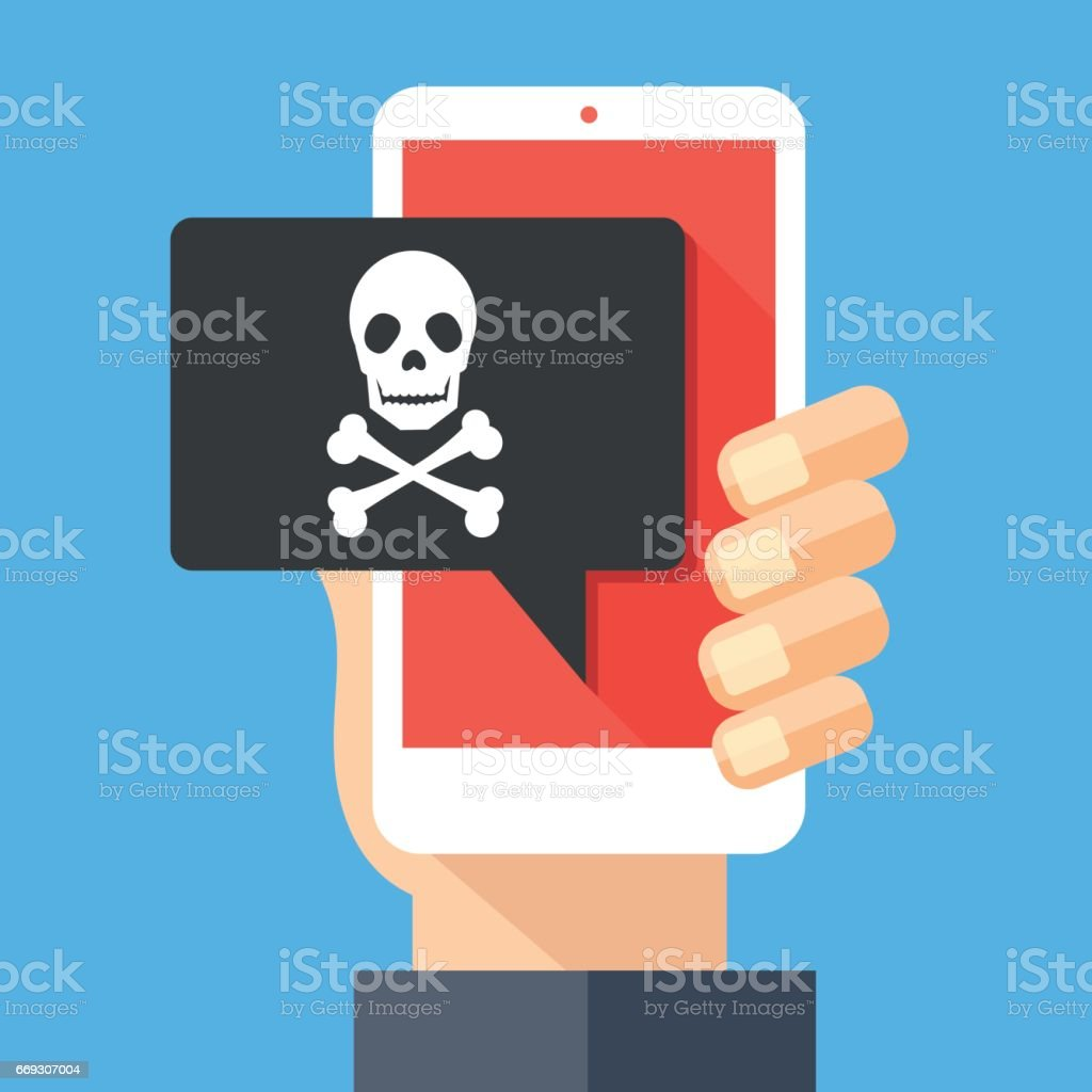 Hand holding smartphone, cellphone with speech bubble and skull and bones on screen. Skull icon. Threats, mobile malware, spam messages, fraud, sms spam concepts. Modern flat design vector illustration vector art illustration