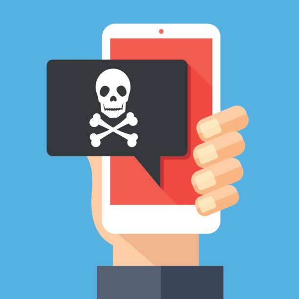 Hand holding smartphone, cellphone with speech bubble and skull and bones on screen. Skull icon. Threats, mobile malware, spam messages, fraud, sms spam concepts. Modern flat design vector illustration Hand holding smartphone with speech bubble and skull and bones on screen. Skull icon. Threats, mobile malware, spam messages, fraud, sms spam concepts. Modern flat design vector illustration computer virus stock illustrations