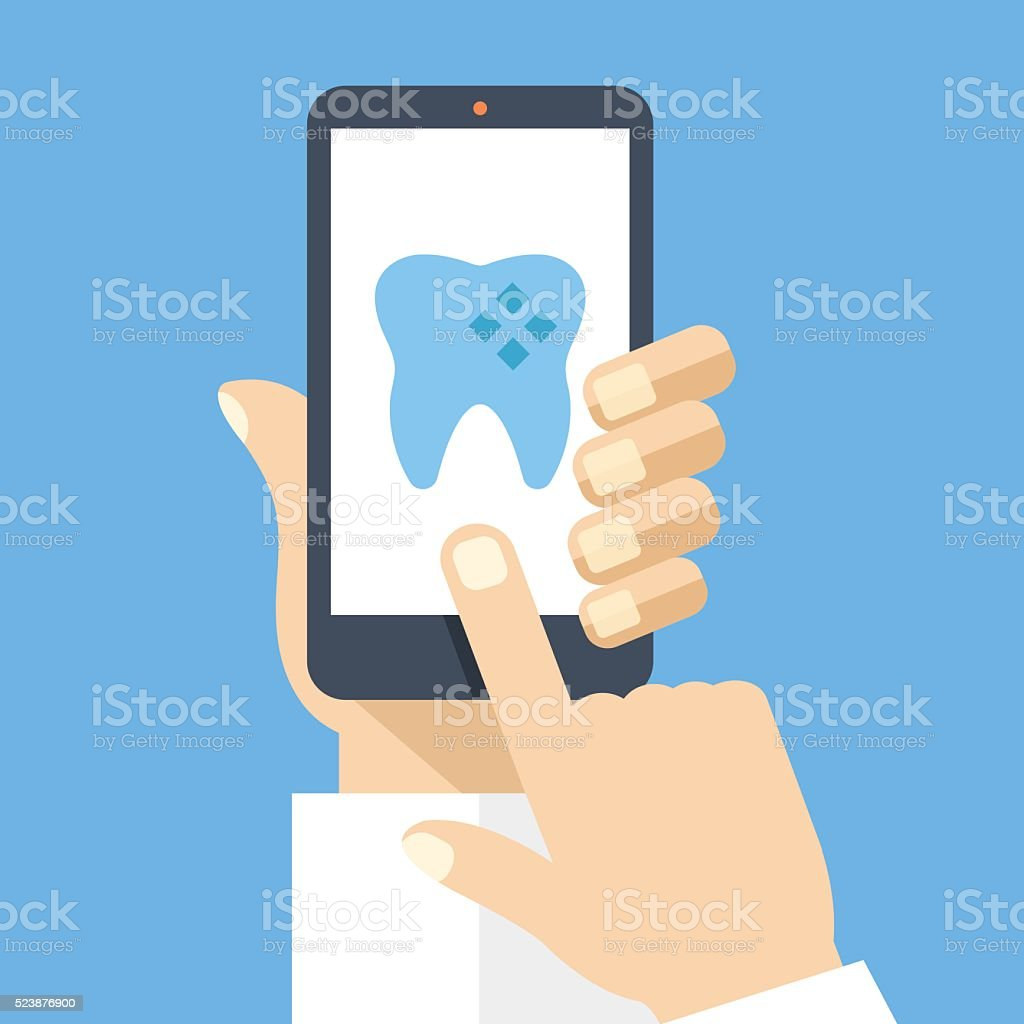 Hand holding smartphone dental app on screen. Flat vector illustration vector art illustration