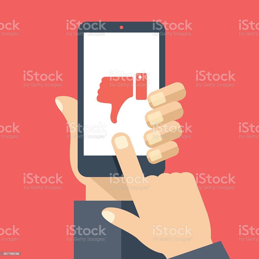 Hand holding smartphone, dislike on screen. Flat design vector illustration