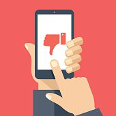 Hand holding smartphone with red dislike on screen. Social network and media on mobile phone. Modern graphic elements for web banners, web design, printed materials. Flat design vector illustration