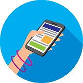 Vector illustration of a hand holding a smartphone against a blue circle background in flat style.