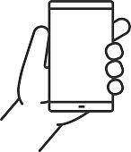 Hand holding smartphone icon