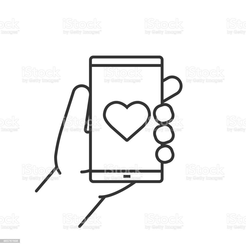 Mano que sostiene el teléfono inteligente icono - ilustración de arte vectorial