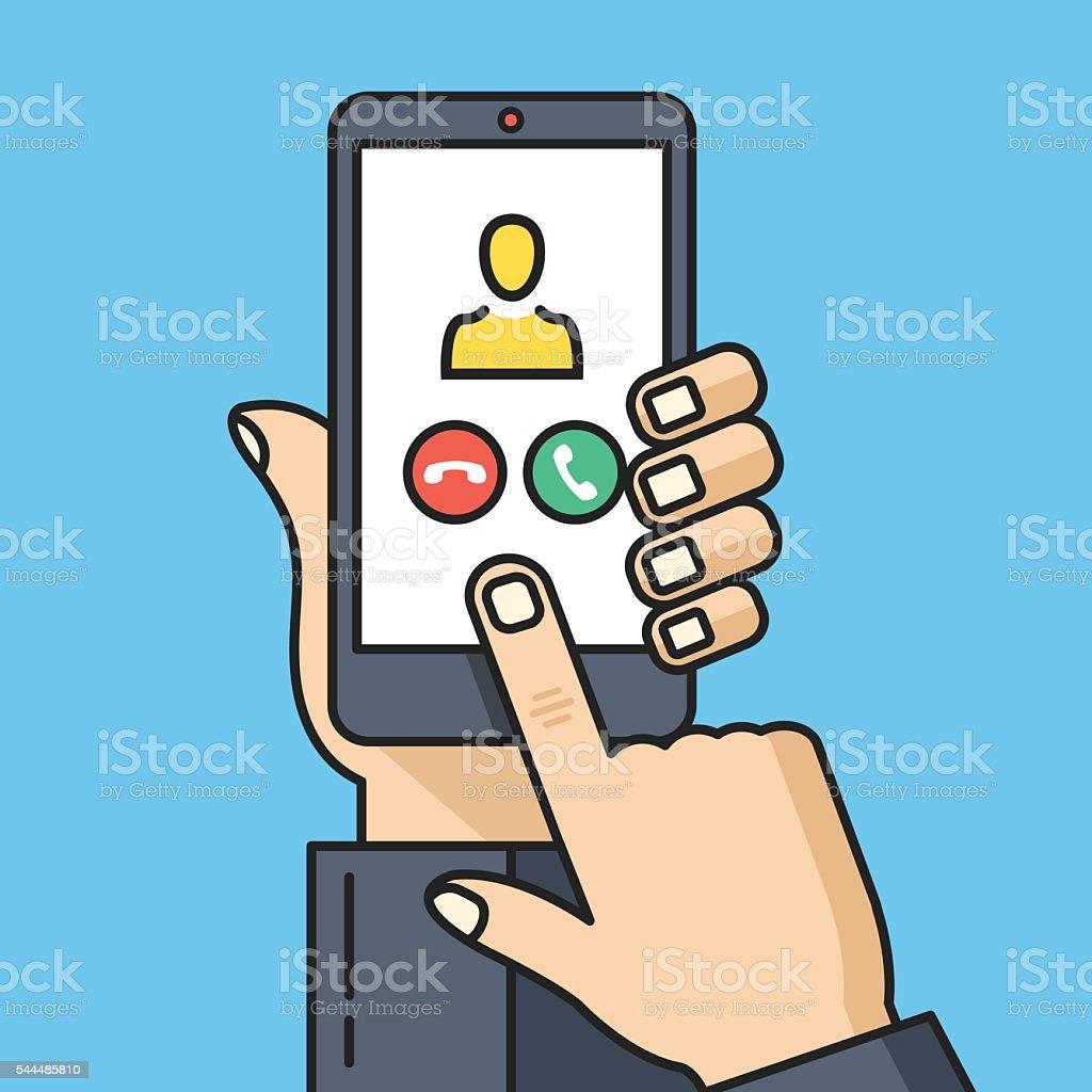 Hand holding smartphone, incoming call screen. Thin line vector illustration vector art illustration