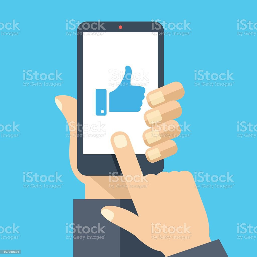 Hand holding smartphone, like on screen. Flat design vector illustration - Illustration vectorielle