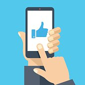 Hand holding smartphone, like on screen. Flat design vector illustration