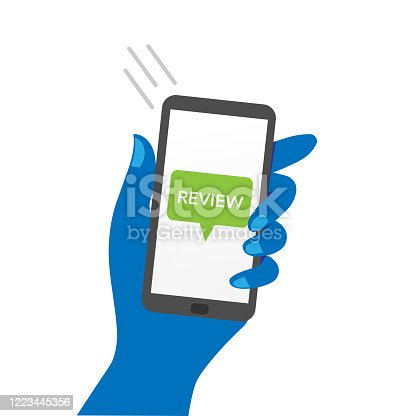 Hand holding smartphone showing 'review' message.
