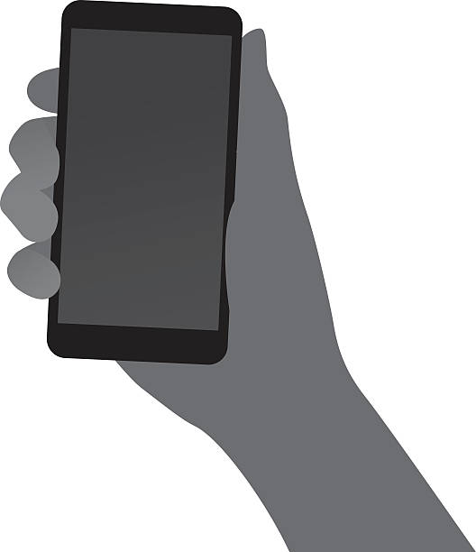 Hand Holding Smartphone Silhouette Vector silhouette of a hand holding a smartphone. hand holding phone stock illustrations