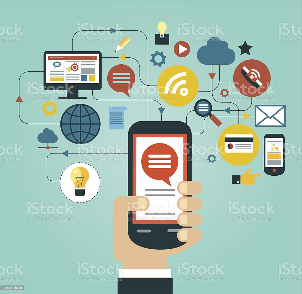 Hand holding smartphone surrounded by icons vector Hand of the person with the phone surrounded by icons. Concept of communication in the network Advice stock vector
