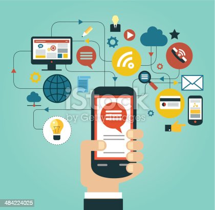 Hand of the person with the phone surrounded by icons. Concept of communication in the network