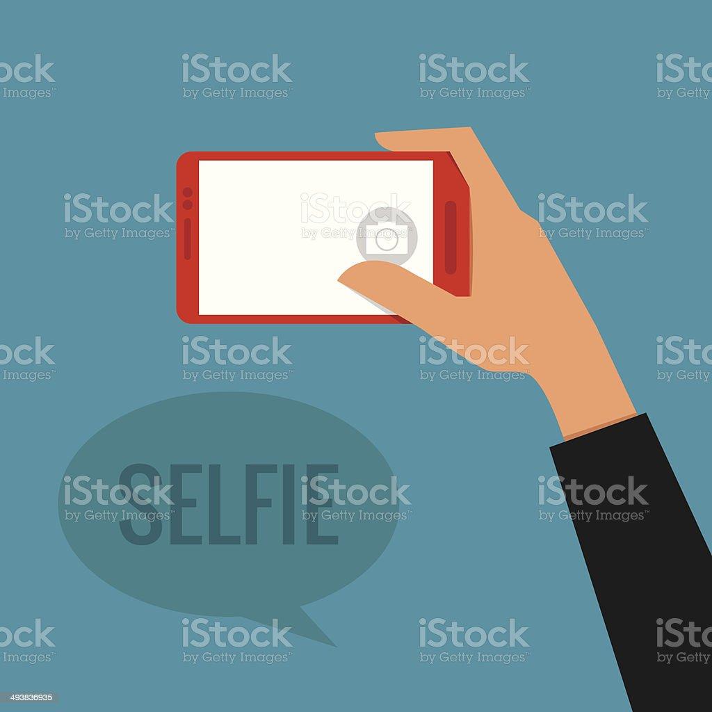 Hand holding smartphone taking a selfie vector art illustration