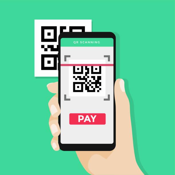 hand mit smartphone scannen qr-code auf dem papier für detail, technologie und business-konzept. - kassenbon stock-grafiken, -clipart, -cartoons und -symbole