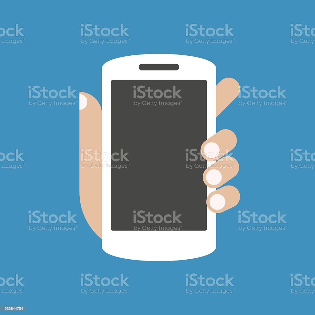Hand holding smartphone with blank screen vector art illustration