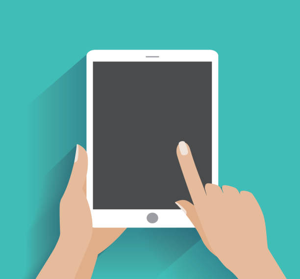 Hand holding smartphone with blank screen Hand touching blank screen of tablet computer. Using digital tablet pc similar to tablet computer, flat design concept. Eps 10 vector illustration ipad stock illustrations