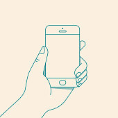 Hand holding smartphone with blank screen. Vector illustration in flat line style