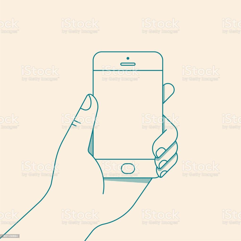Mano sosteniendo el smartphone con la pantalla en blanco. Ilustración de vector de estilo de línea plana - ilustración de arte vectorial