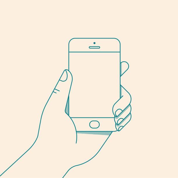 stockillustraties, clipart, cartoons en iconen met hand met smartphone met leeg scherm. vectorillustratie in platte lijnstijl - menselijke hand