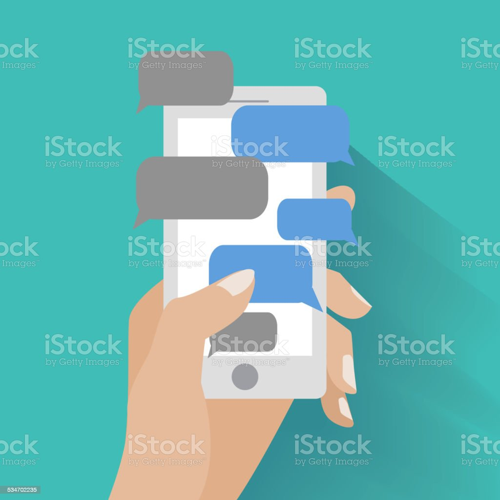 Hand holding smartphone with blank speech bubbles vector art illustration