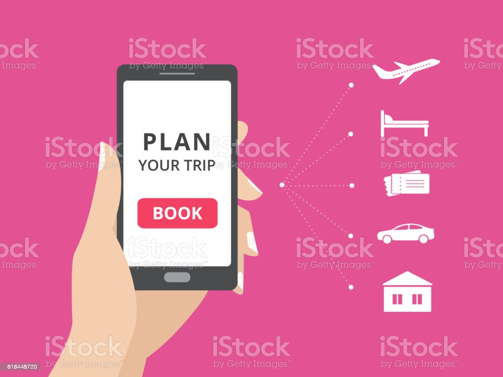 Hand holding smartphone with book button on screen. Online booking design elements, hotel, flight, car, tickets vector art illustration