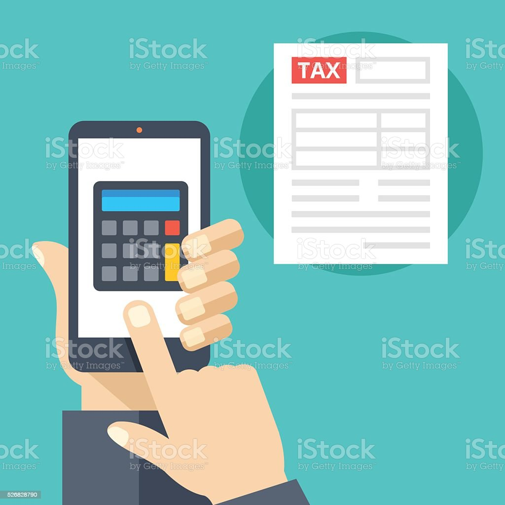 Hand holding smartphone with calculator on screen and tax form vector art illustration